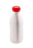 Flasche mit Joghurt auf Weiß Stockfotos