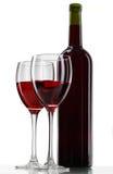 Flasche mit Rotwein lizenzfreie stockfotos