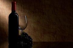 Flasche mit Rotwein und Glas und Trauben Lizenzfreie Stockbilder
