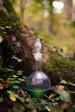 Flasche mit Trank im Holz Stockfotos