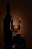Flasche mit Wein und Glas und Trauben Stockfotos
