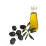 Flasche Olivenöl und Ölzweig Stockbilder