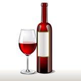 Flasche Rotwein mit einem Glas Stockbilder