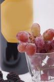 Flasche Rotwein und Glas füllte mit Trauben Stockfotografie