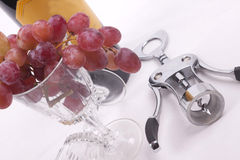 Flasche Rotwein und Glas füllte mit Trauben stockbilder