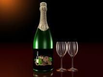Flasche Sekt mit Gläsern Stockfotos