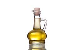 Flasche Sonnenblumenöl lokalisiert auf weißem Hintergrund Lizenzfreie Stockfotos