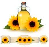 Flasche Sonnenblumenöl mit Blume Stockbild