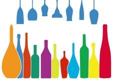 Flasche und Glas Stockfotografie