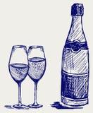 Flasche und Glas Champagner lizenzfreie abbildung