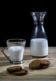 Flasche und Glas Milch mit Plätzchen Lizenzfreie Stockfotografie