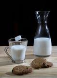 Flasche und Glas Milch mit Plätzchen und einem Zuckerwürfel Lizenzfreies Stockfoto