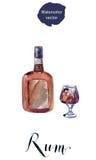 Flasche und Glas Rum stock abbildung