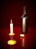 Flasche und Kerze Lizenzfreies Stockfoto