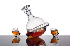 Flasche und zwei Gläser Stockbilder