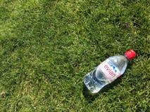 Flasche Wasser auf dem Gras Stockbild