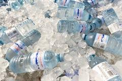 Flasche Wasser auf Eis lizenzfreies stockfoto