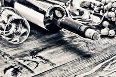 Flasche weißer Wein thanksgiving Lizenzfreies Stockfoto