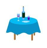 Flasche Wein auf der Tabelle lizenzfreie abbildung
