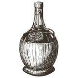 Flasche Wein auf einem weißen Hintergrund skizze vektor abbildung