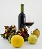Flasche Wein mit Herbstfrucht Stockfotografie