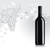 Flasche Wein mit Traube Lizenzfreie Stockfotografie