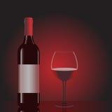 Flasche Wein und Glas Lizenzfreies Stockfoto