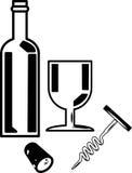 Flasche Wein und Weinglas Lizenzfreie Stockbilder