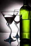 Flasche Wein und zwei Gläser Lizenzfreies Stockfoto