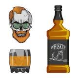 Flasche Whisky und Glas, Besäufnis, Flasche und ein Glas, Alkoholgetränk, Alkohol für Männer, Flasche Whisky, alt stock abbildung