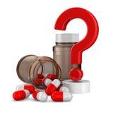 Flasche zwei für Tabletten auf weißem Hintergrund Lizenzfreie Stockfotos