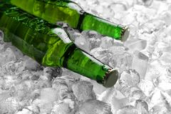 Flaschen Bier auf Eiswürfeln lizenzfreie stockbilder