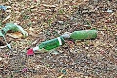 Flaschen Bier im Abfall lizenzfreie stockfotografie