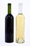 Flaschen des roten und weißen Weins Stockfotografie