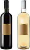 Flaschen des roten und weißen Weins Lizenzfreies Stockfoto