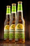 Flaschen des Somersby-Apfelweingetränks Lizenzfreie Stockfotos