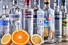 Flaschen einiger globaler Marken des Wodkas lizenzfreies stockfoto