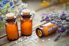 Flaschen homöopathische Kügelchen und heilende Kräuter lizenzfreies stockbild