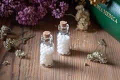 Flaschen homöopathische Pillen mit getrockneten Kräutern und materia medica stockfoto