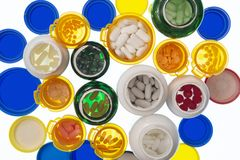 Flaschen Medizin von oben lizenzfreie stockbilder