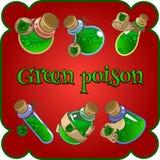 Flaschen mit grünem Gift auf einem roten Hintergrund lizenzfreie abbildung