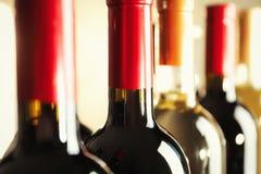 Flaschen mit köstlichem Wein, Nahaufnahme stockfoto