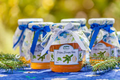 Flaschen mit Kiefern- und Zitronengelee Stockbild