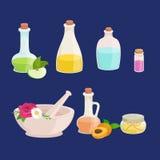Flaschen mit organischem wesentlichem Aromaöl- und -Stück Seifen-Satz Stockfoto