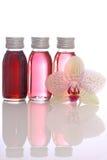 Flaschen mit wesentlichen Schmierölen lizenzfreies stockbild