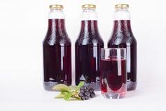 Flaschen Sirup gemacht vom Chokeberry und vom Glas lizenzfreie stockbilder