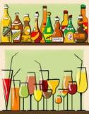Flaschen und Glas Stockbild