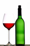 Flaschen- und Weinglas stockbild