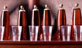 6 Flaschen ungefiltertes Bier richteten auf einer Tabelle aus Stockfoto