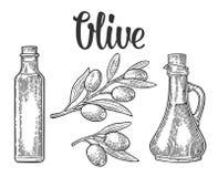 Flaschenglas des Olivenöls mit Korkenstopper und der Niederlassung mit Blättern lizenzfreie abbildung
